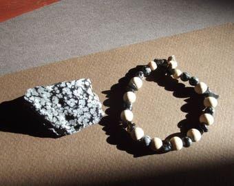 "Bracelet ""Obsidienne et flocons de neige"""