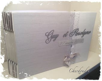 diamond wedding or Elegant grey and white gold wedding guest book or album