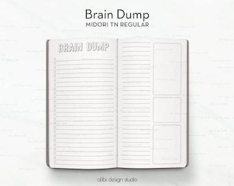 Standard TN, Brain Dump, Brain Dump Printable, Travelers Notebook, Midori Inserts, Traveler's Notebook Standard, To Do List, Bullet Journal