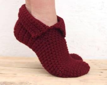 Wine socks Crochet women slippers Winter Patik Crochet slippers winter socks Crochet socks Slippers woman Wine slippers Winter slippers