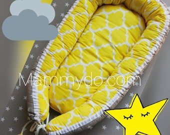 Babynest,baby nest, baby cocoon,baby nest bed,baby bed,sleeping nest,grey and yellow print baby, baby shower gift,sleeping bed,new baby gift
