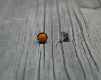 Stainless steel earrings salmon color cabochon