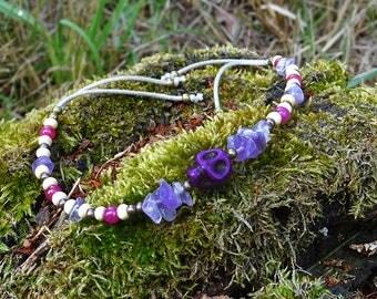 Amethyst and purple skull bracelet ~ handmade & OOAK