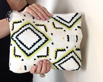Large zipper pouch, Geometric Zipper Pouch, Boho Makeup Bag, cosmetic bag, Boho Chic Bag, Foldover clutch, gifts for her, cute bag, toiletry
