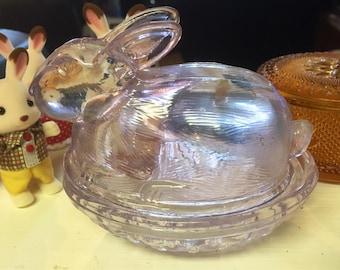 Lavender Glass Nesting Bunny