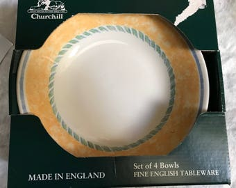 Churchill of England Classic Yellow Soup Cereal Bowl New Set of 4, Vintage
