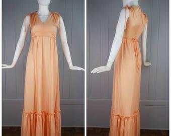 Vintage Womens 1970s Pastel Peachy Orange Sleeveless V Neck Maxi Dress with Ruffle Hem | Size XS Tall