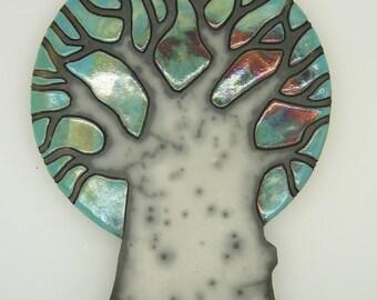 Plate wall tree naked raku technique