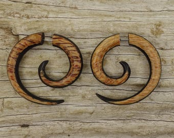 Wood Curls Fake Gauges Earrings - Brown Wood - Free Shipping
