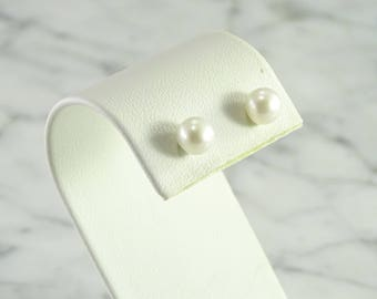 Pearl Stud Earrings with Sterling Backs and Posts