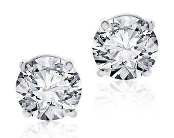 1.48 Carat Round Diamond Stud Earrings F-G/VS2 14K White Gold