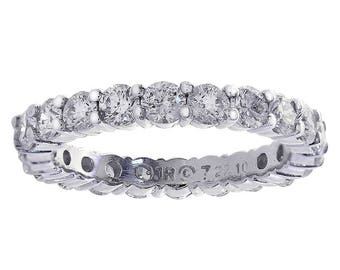 1.50 Carat Round Diamond Eternity Wedding Band 14K White Gold