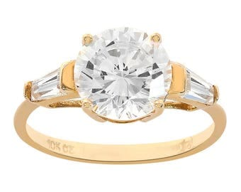 2.50 Carat Round & Baguette Cut CZ Engagement Ring 10K Yellow Gold