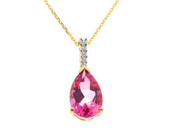 3.87 Carat Pear Shape Pink Topaz Round Diamond Pendant Cable Chain 14K Yellow Gold