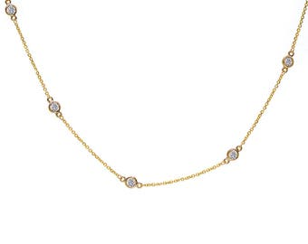 0.90 Carat Round Diamonds By The Yard Necklace In 14K Yellow Gold