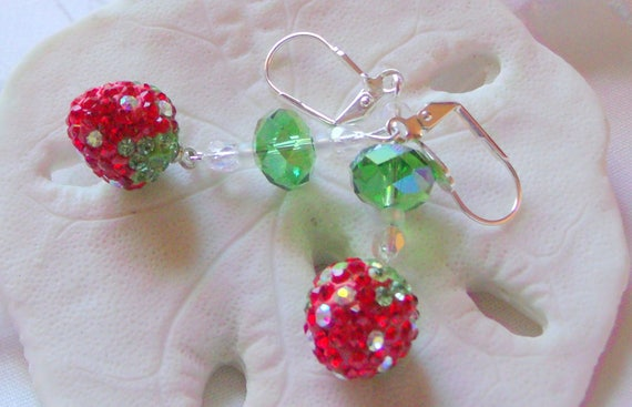 Strawberry earrings -  fruit and berry design - glitz drop earrings - summer - vacation -  garden lover - Lizporiginals