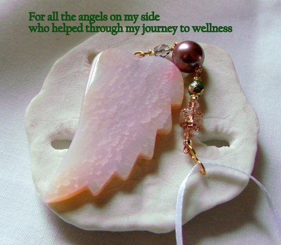 Pink gemstone ornament - agate wing - angel by my side gift -  support a friend -  ribbon heart - for the cure - guardian gift -  for cancer