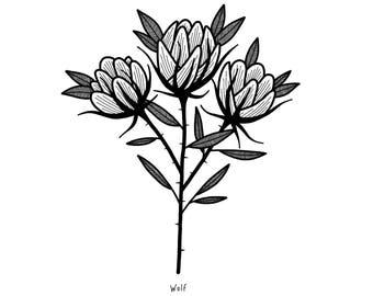 3 Flowers Print