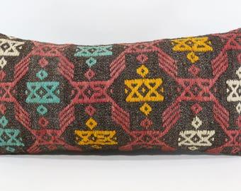 12x24 Lumabar Kilim Pillow Turkish Kilim Pillow 12x24 Naturel Embroidered Kilim Pillow Throw Pillow Sofa Pillow Boho Pillow  SP3060-846