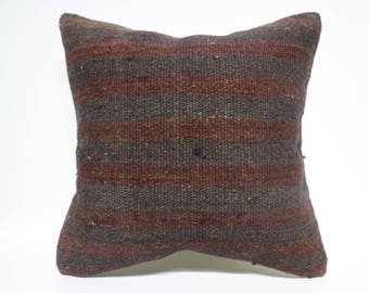 Anatolian Striped Kilim Pillow Sofa Pillow 20x20 Decorative Kilim Pillow Boho Pillow Naturel Kilim Pillow Cushion Cover  SP5050-2552