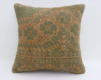 Yellow turkish pillow kilim pillow cushion case throw pillows 20x20 pillows Green floral pillow aztec pillow nomadic pillow  SP5050-2704