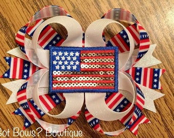 Stars & Stripes Stacked Boutique Bow