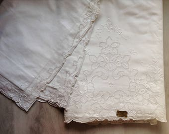 White cotton pillowcase and bed sheet vintage with floral embroidering, Sardinian wedding trousseau