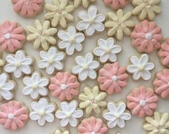 Mini Cookies, Shower Cookies, Flower Cookies, Wedding Shower, Bridal Shower, Shower Favors, Bridal Shower Cookie, Party Favors, Treat  Bags