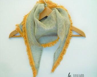 beige fringe scarf/shawl scarf yellow