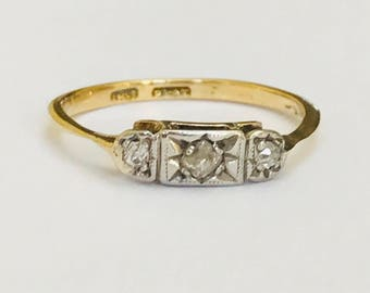 Superb antique Art Deco 18ct gold & Platinum Diamond Ring