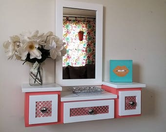 "Floating Makeup Table Vanity Design #3 ""Coral and White"""
