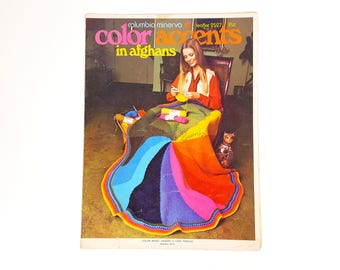 Vintage Afghan Knitting Patterns Columbia Minerva Leaflet 2527 Color Accents in Afghans