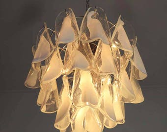 "Italian vintage Murano chandelier - Mazzega - 24 ""rondini"" glass"