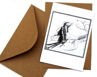 Black and white, drawing, folding card DIN-5, card with envelope, art print, recycled art card, gift, art lover, birthday father, drawing