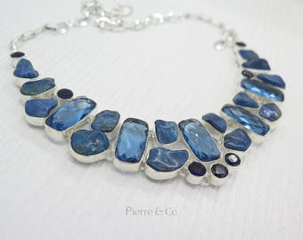 Chrysocolla and Blue Topaz Sterling Silver Necklace