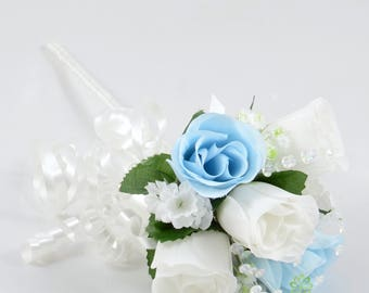 Artificial Wedding Flowers, Baby Blue & White Rose Flower Girl Wand