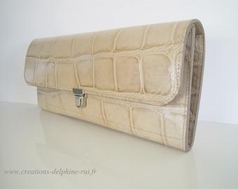 "Bag ""Audrey"" - printed crocodile - 100% leather cowhide"