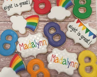 Rainbow Birthday Cookies (1 Dozen)
