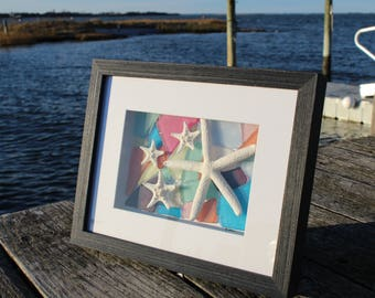 Faux Sea Glass and Natural Starfish Framed Art, Faux Sea Glass Wall Decor, Sea Glass Art, Framed Sea Glass Art, Gifts for Her