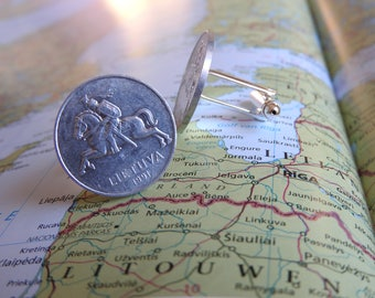 Lithuania coin cufflinks - made of original coins from Lithuania - traveler - wandering - explore
