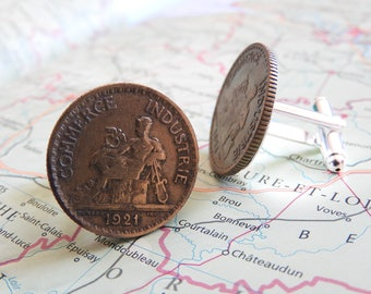France vintage Franc coin cufflinks - 1921/1922/1923/1927 - made of coins from France - birth year - wedding gift - groom