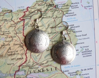 Tunisia coin earrings with a picture of a tree - made of original coins - tree of life