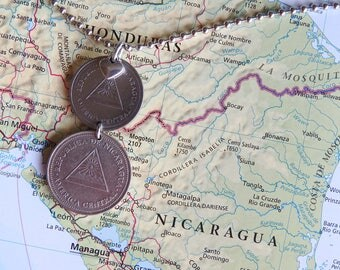 Nicaragua coin necklace/keychain - 4 different designs - made of original coins