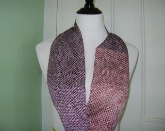 Vintage Shibori Silk Cowl Patchwork Scarf with Beautiful Light and Dark Red Dot Shibori Patterns