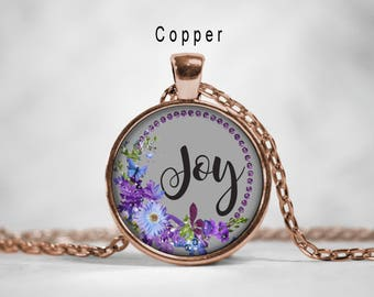 Word joy necklace pink watercolor flowers inspirational joy inspirational word pendant joy necklace inspirational jewelry joy pendant motivational words aloadofball Gallery