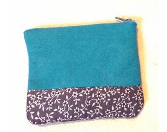 Blue and grey felt pouch