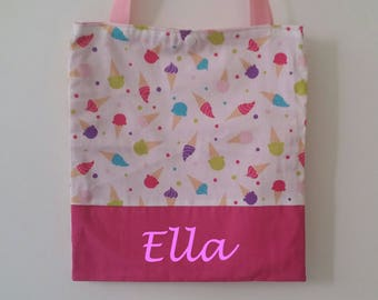 Child tote bag personalized girl name bag library glasses.