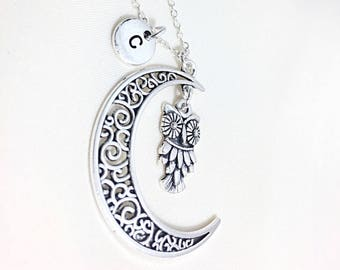 Custom Silver Moon Necklace, silver moon necklace,moon charm,filigree jewelry,silver moon pendant,moon jewelry, filigree moon necklace, Gift