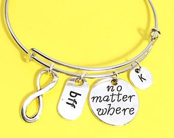 Best Friend Bracelet, Friendship Bangle Bracelet, Friendship Jewelry, No Matter Where distance,Custom, Personalized, Moving Gift for BFF