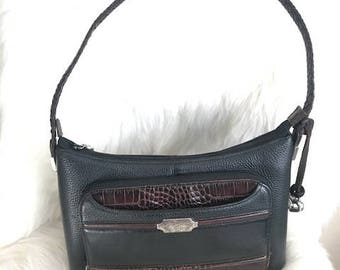 Vintage Multi-compartments Black Shoulder Bag by Brighton Black and Brown Purse